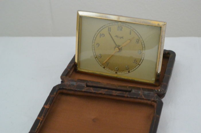 Kienzle Travel alarm clock in Leather Case - 1950, Made in Germany