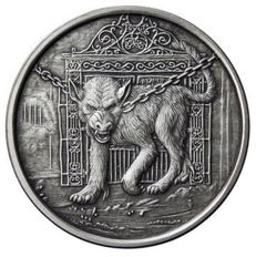 USA - 1 ounce 2017 'Nordic Creatures - Hellhound Garm' antique silver finish - 999 silver with box and certificate - 1 oz silver