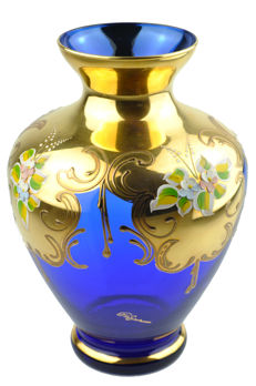Murano style glass vase - 24 carats gold hand painted - Italy, 1970's
