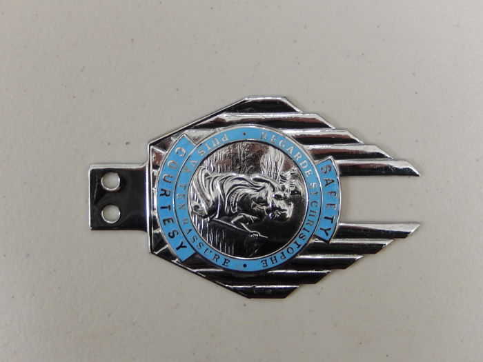 vintage chrome and enamel st christopher car badge nice. Black Bedroom Furniture Sets. Home Design Ideas