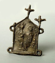 Our Lady's Shrine Pewter Pilgrim Badge - 30mm x 43mm