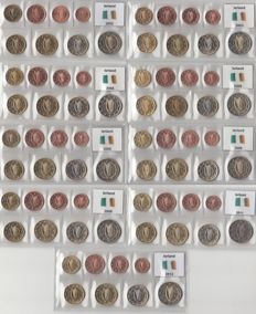 Ireland - Year series of Euro Coins 2002 through 2006, 2008/2009 and 2011/2012, complete
