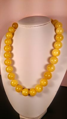 Egg yolk colour modified Baltic Amber necklace, 65 grams