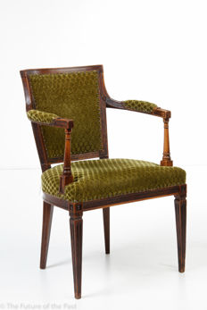 An elm wooden armchair in Louis XVI style, the Netherlands, 19th century
