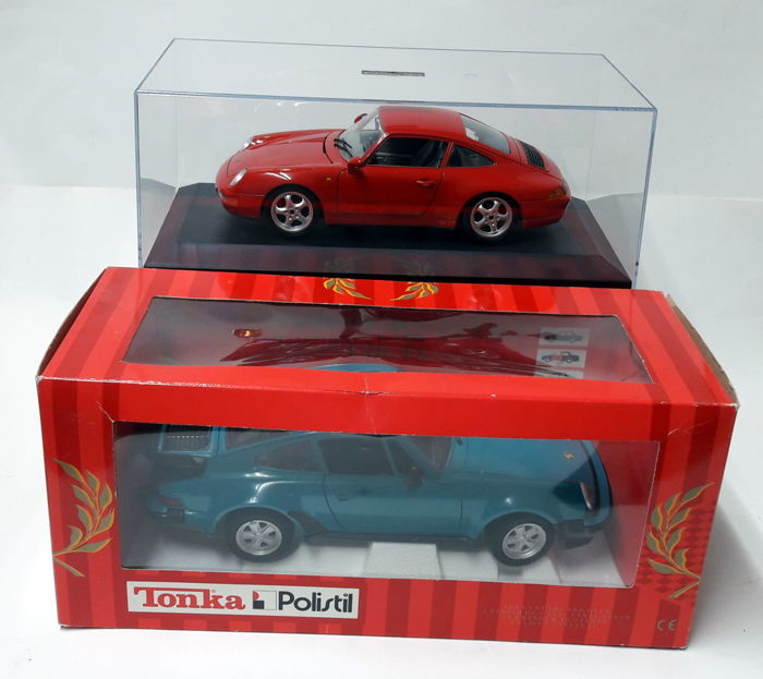 Polistil / Burago - scale 1/16-1/18 - Porsche 911 (930) Turbo & Porsche 911 Carrera 1993 - blue-green / red