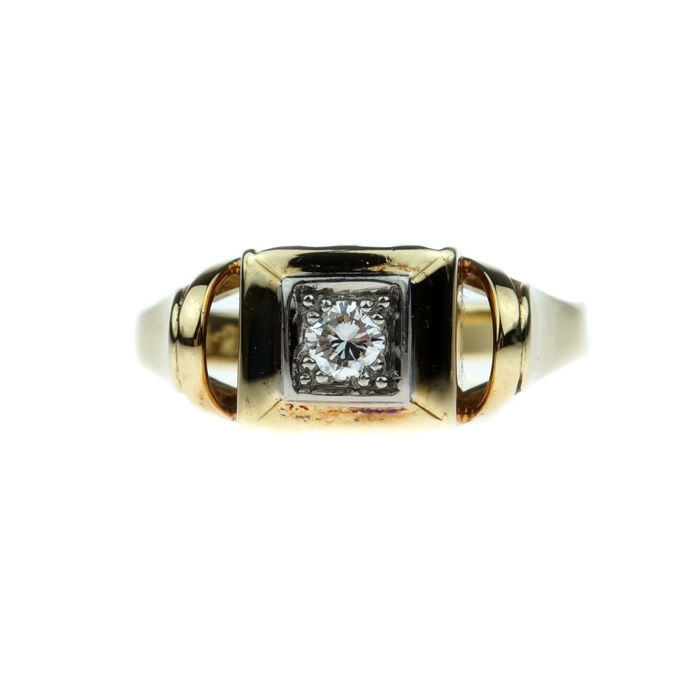 14 kt gold Art Deco women's ring set with diamond 0.10 ct -NO RESERVE-
