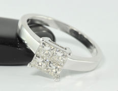 0.72 ct diamond ring in 18 kt white gold - Size: 49 / 15.6 mm (circumference / diameter)