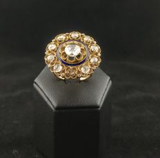 Gold ring (18 kt) with central diamond (1.15 ct), accent diamonds (1.99 ct) and coloured enamels