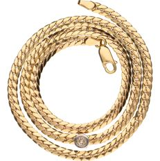 14 kt Yellow gold curb link necklace set with 1 brilliant cut diamond of approx. 0.20 ct - length: 43 cm