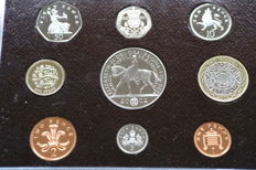 United Kingdom - Year pack with 1 Penny through 5 Pounds 2002 (9 pieces) in set