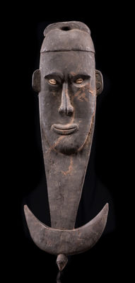 Heavy, old, authentic Sepik hook made of Garamut wood, Latmuel tribe, Central Sepik, Papua New Guinea