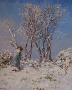"Chris van Dijk  (1952)  -  Winter scene - ""woman climbs the mountain in the snow""."