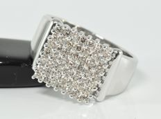 1.00 ct diamond ring in 18 kt gold - Size: 58.5 / 18.6 mm