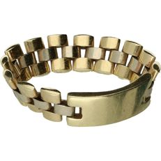14 kt Bi-colour white/yellow gold flexible Rolex link ring with a new plate for engraving. - Ring size: 20 mm