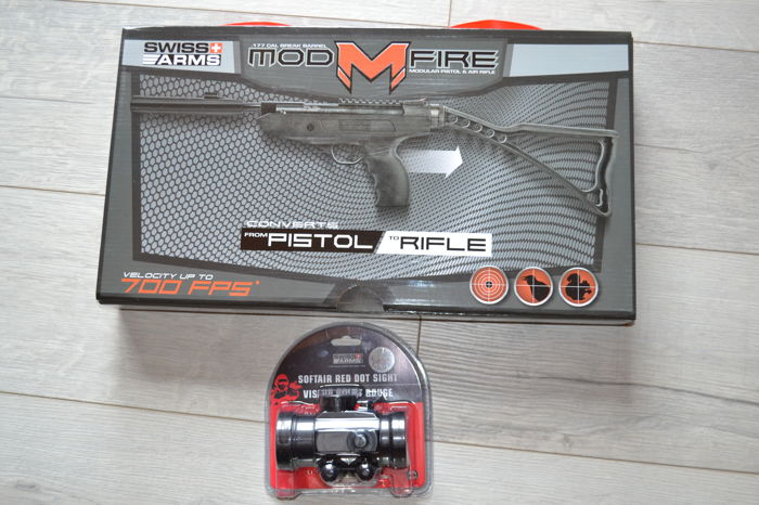 Air pistol/rifle with red dot sight, 11.5 joules