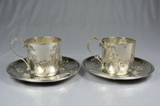 P. Frères: pair of silver teacups and saucers - France - 19th century