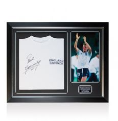 Paul Gascoigne - Deluxe Framed Hand Signed England Legends shirt + COA A1 and Photoproof!