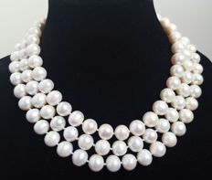 Long necklace with large white fresh water cultured pearls - Length: 130 cm