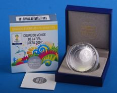 France – 5 Euro 2014 coupe du monde de football FIFA au Brèsil – gold + 10 Euro 2014 silver +  bronze medal – very rare lot