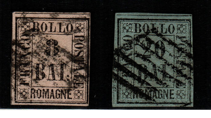 Romagne 1859 - Almost complete series (No. 6 Baj) - Sassone  no. 1-6 and 8-9