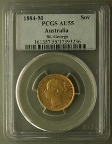 Australia - Sovereign 1884 (Melbourne) Victoria in PCGS Slab - gold