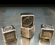 USA:  YPS Yeager`s Poured Silver - 4 x 1 oz Silver Cube