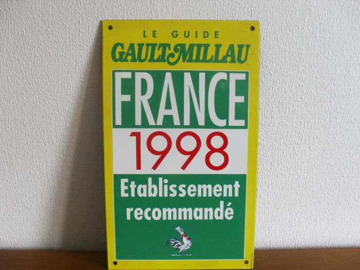 Enamelled advertising wall plate - Gaultmillau from 1998