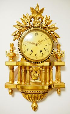 Swedish hand carved gilt-wood Rococo style Cartel wall clock -  Approx 1930 - 1940