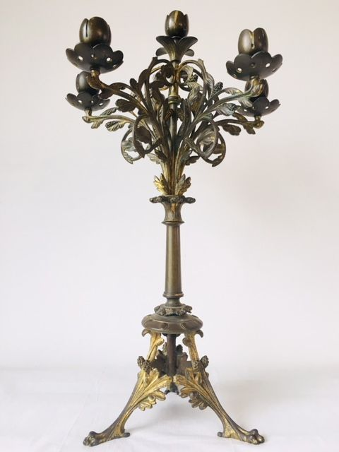 Heavy copper tulip candlestick with multiple arms - Art Nouveau