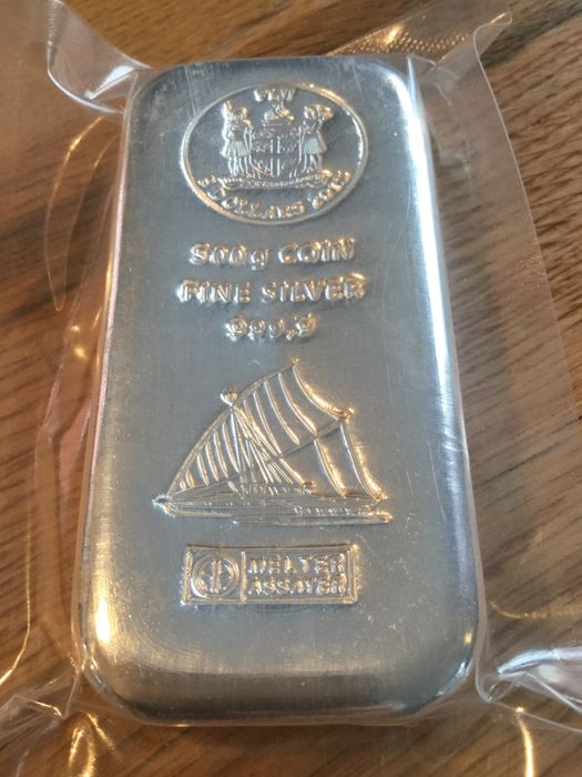 Fiji: 500 g silver bar Heraeus 2015, coin bar motif sailboat, new and sealed, with certificate