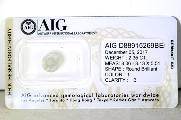 AIG Diamant - 2.35 ct - I , I3 -  * NO RESERVE PRICE *