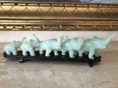 Elephant Sculptures on Wooden Base made of green and grey Korean Jade - 702 g (total)