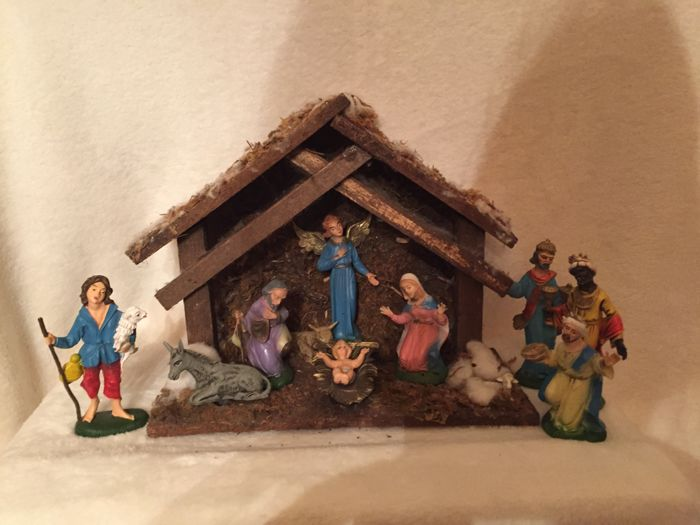 Old nativity scene with figurines, antique - vintage