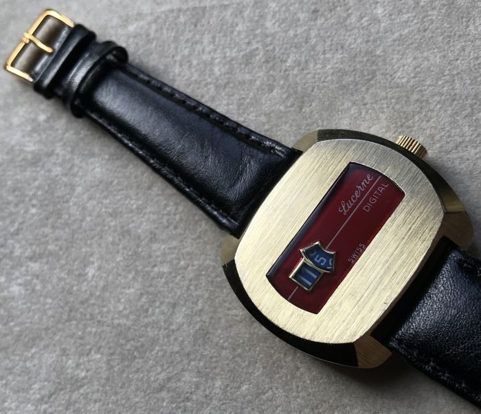 Lucerne Digital - vintage 1970s jump hour men's wristwatch *** exceptionally with no reserve price ***