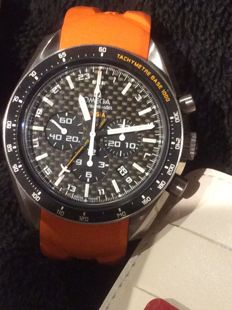 Omega Solar Impulse chronograph GMT, titanium case, carbon dial, orange and black rubber strap (new), comes with box and documents. Excellent condition. 2012.
