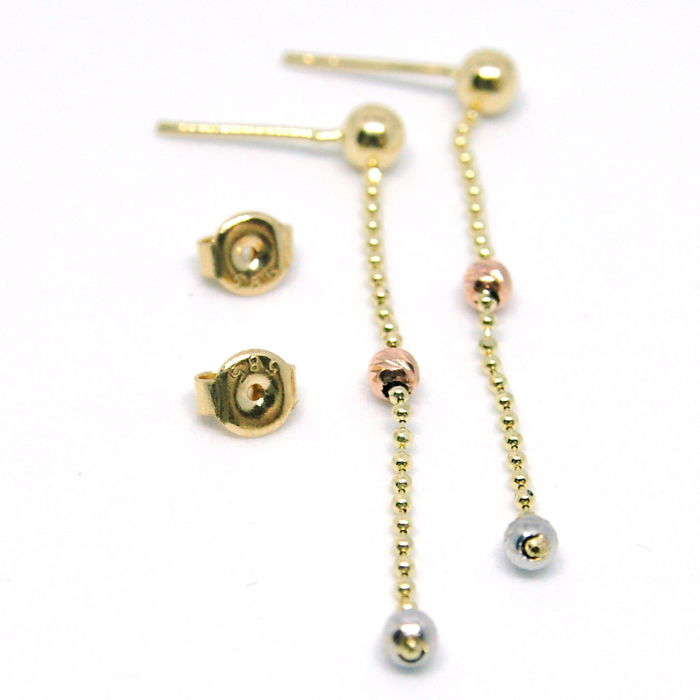 14K Italian Earring, Tri color Golden Ball Decoreted