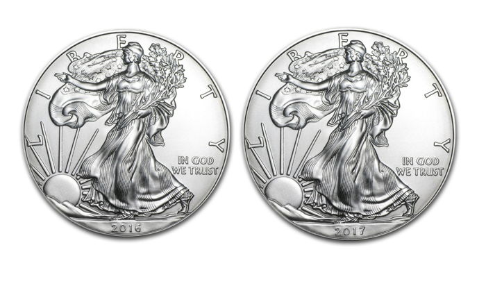 USA - 1 Dollar 2016 & 2017 'American Eagle' (2 coins) - 2x 1 oz silver