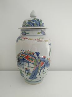 Famille rose porcelain vase with characters decoration - China - End of the 20th century.