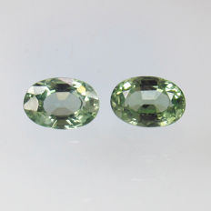 Green Sapphire Pair – 1.19 Ct  total – No reserve