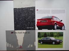 1991 - 2003 - AUDI Le Mans quattro concept, V8 L, Coupé S2, Avant S2 - Mixed lot of 4 original & oversize sales brochures