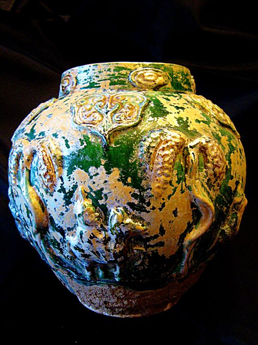 Ancient Chinese Earthenware Han/Tang Burial Jar - 25.4 by 82.6 cm - (1)