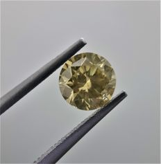1.23ct Round Cut Diamond Fancy Brownish Greenish Yellow #1003