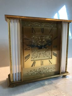 Heavy  pendulum with glass and golden brass columns – 1960's