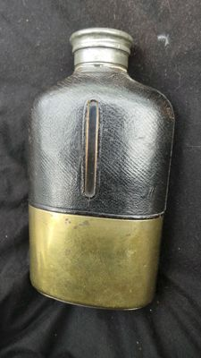 Falconry hunting antique hip flask - glass with leather and brass - tin cap - top piece - 19th century hip flask