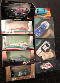 Revell / Vitesse / Ixo / Brumm / Solido - scale 1/43 - lot of 9 cars: Jaguar, Ford, Aston Martin, Corvette & Fiat