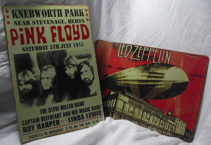 Two metal signs: Pink Floyd, Knebworth Park and Led Zeppelin Madison Square Garden retro style metal wall signs. 20 cm x 30 cm approx'