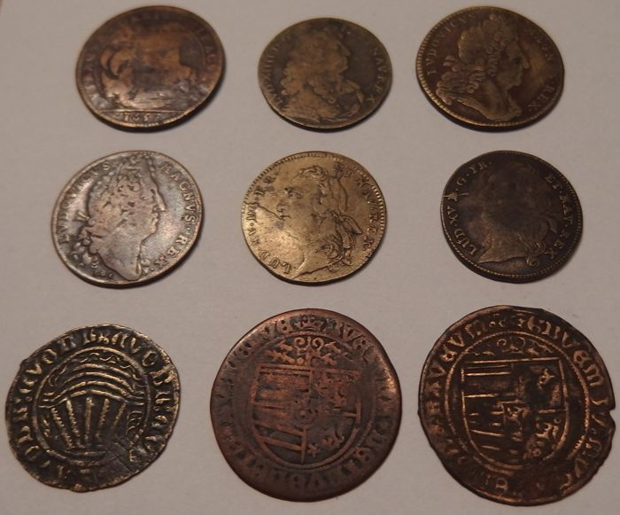 France - 9 pieces of Jetons from 1657 - copper