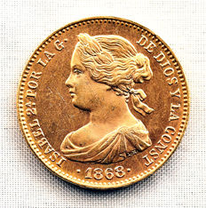 Spain - Isabel II - 10 escudos gold coin - 1868*18-68 Madrid