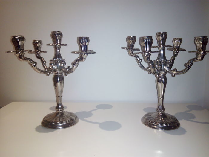 Five-arm silver candelabra - Pedro Durán - Spain - second half 20th century