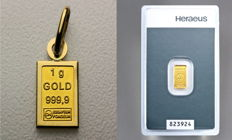 Switzerland - gold lot - 1 grams 999.9 gold bar as pendant with 750 gold version / frame - 1.33 grams finely + 1 grams Heraeus gold bars